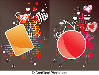 Two different labels with floral elements and hearts