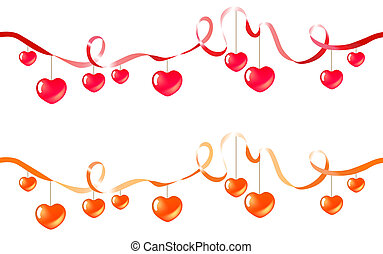 Two seamless silk ribbons with hanging hearts