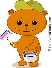 Teddy bear house painter - Vector cartoon, toy teddy bear...