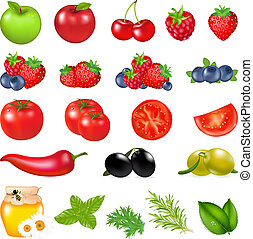 Fruits And Vegetables, Isolated On White Background, Vector...