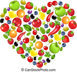 Heart From Vegetables And Fruit, Isolated On White...