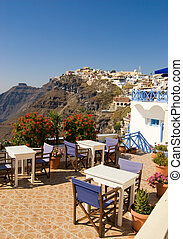 Restaurant with a beautiful landscape view (Santorini Island, Greece)
