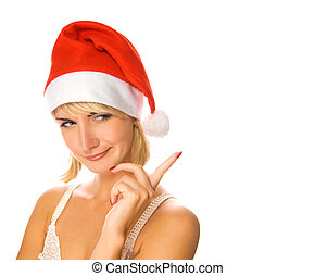 Portrait of Mrs. Santa pointing her finger. Isolated on...