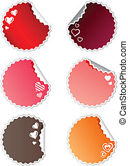 Set of six round stickers with hearts