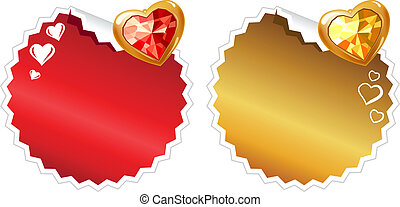 Set of two round stickers with hearts