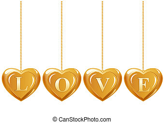 Collection of hanging gold hearts with sign quot;lovequot; -...