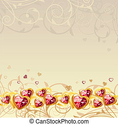 Frame with gold hearts and ornate elements