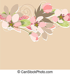 Pink floral background with flowers and plants