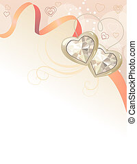 Saint valentine greeting card with jewels and pink ribbon