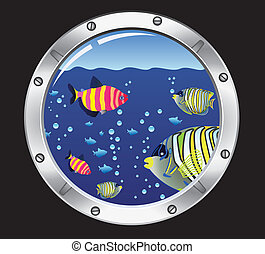 porthole and colorful fishes - vector porthole and colorful...