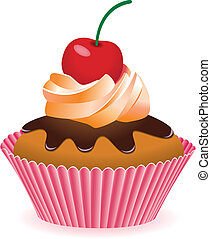 cupcake with cherry - vector cupcake with cherry