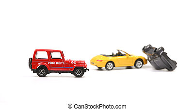 Fire department at car crash - Car crash between a yellow...