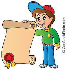 Boy holding diploma - vector illustration