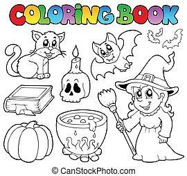 coloração, livro, dia das bruxas,...