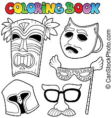 Coloring book with different masks - vector illustration.