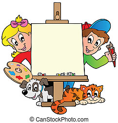 Cartoon kids with painting canvas - vector illustration.