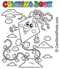 Coloring book with kite 1 - vector illustration.