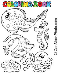 Coloring book with sea animals 3 - vector illustration.