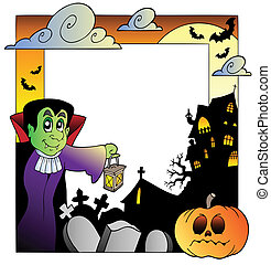 Frame with Halloween topic 2 - vector illustration.