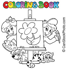 Coloring book with kids and canvas - vector illustration.