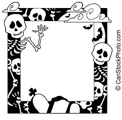 Frame with Halloween topic 4 - vector illustration.