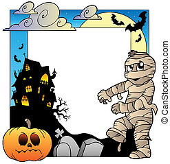 Frame with Halloween topic 3 - vector illustration.