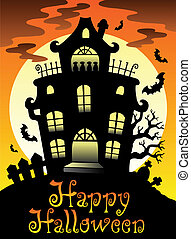Happy Halloween theme with Moon 2 - vector illustration