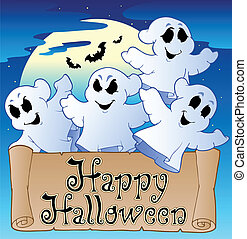 Theme with Happy Halloween banner 2 - vector illustration