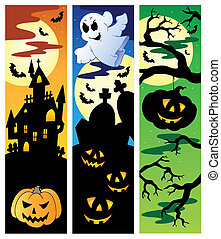 Halloween banners set 5 - vector illustration