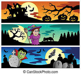 Halloween banners set 2 - vector illustration.