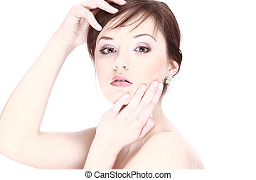 Portrait of young adult woman with health skin of face