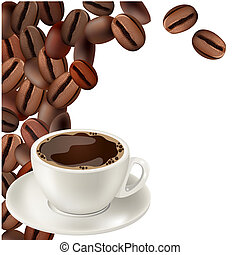 Coffee beans and cup of hot coffee