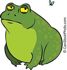 Grumpy fat frog cartoon character - Grumpy frog cartoon...