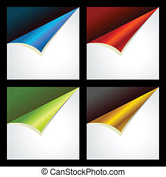 Different color curled corners of square paper