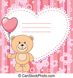 pink background - pink child background with teddy bear and...