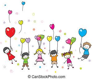 crianças, tocando, balões