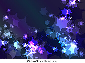 Sparkling festive blue background with glow and stars