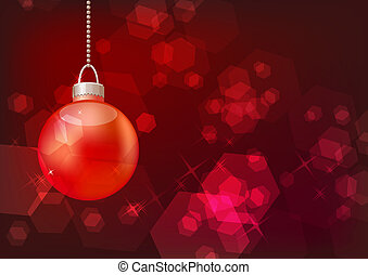 Red ball hanging on red sparkling background