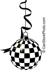 Black-and-white hanging disco ball - Stylized...
