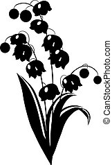 Stylized black and white flower on white background