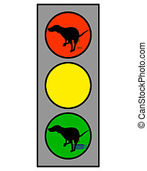 Traffic light showing a dog doing an interdicted and favored...