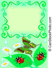 frame with butterfly, color, sheet, ladybug and drop