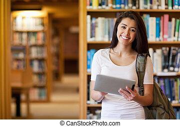 Sourire, ÉTUDIANT, utilisation, tablette,...
