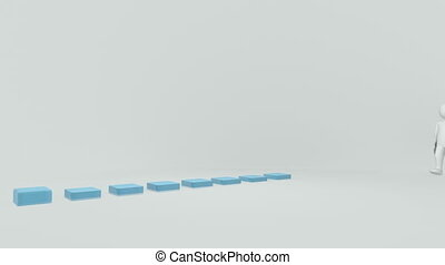 3d man presenting a bar graph against a white background