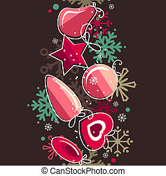 Seamless christmas border with pink balls and snowflakes