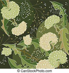 Background with white dandelions