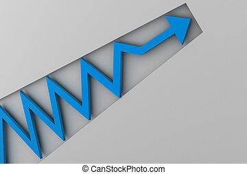 blue arrow in business graph