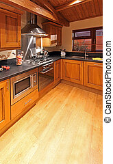 Kitchen - Retro wooden kitchen with lot of modern appliances