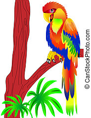 parrot sitting on tree - illustration parrot sitting on tree...