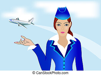 young stewardess on background of the plane - illustration...